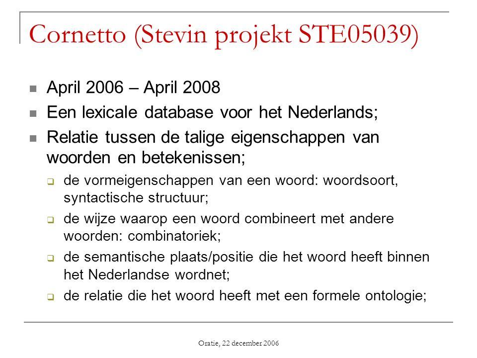 Oratie, 22 december 2006 Cornetto (Stevin projekt STE05039) April 2006 – April 2008 Een lexicale database voor het Nederlands; Relatie tussen de talig