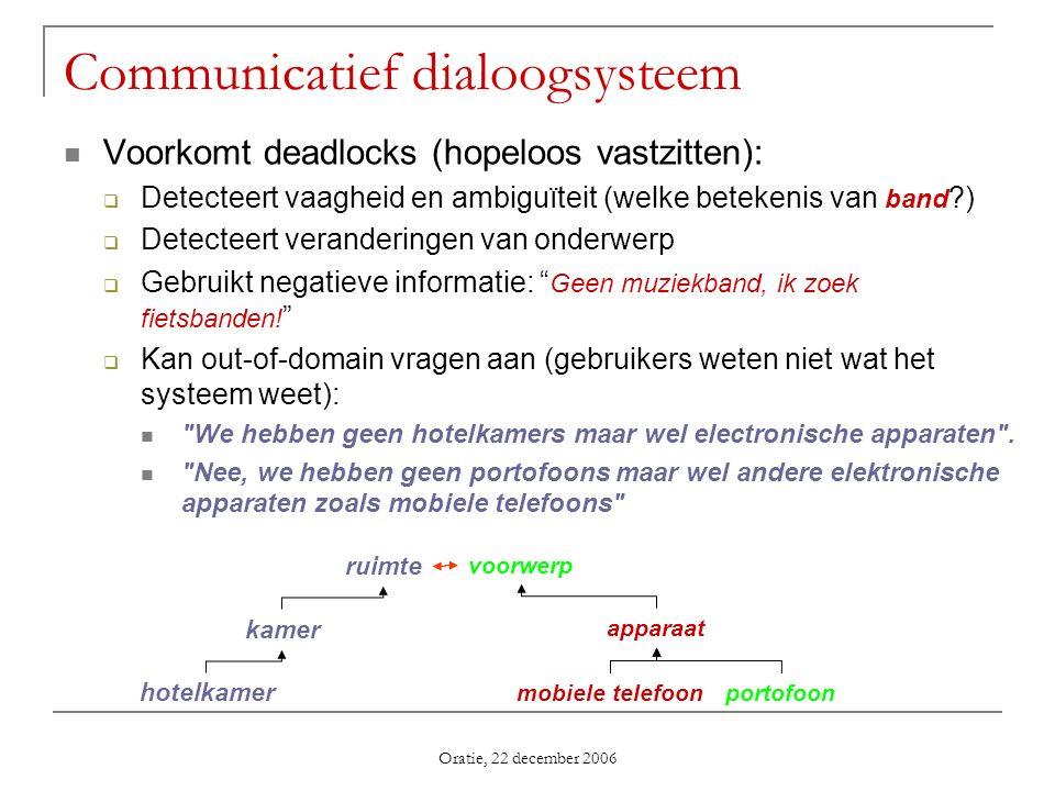 Oratie, 22 december 2006 Voorkomt deadlocks (hopeloos vastzitten): Detecteert vaagheid en ambiguïteit (welke betekenis van band ?) Detecteert verander