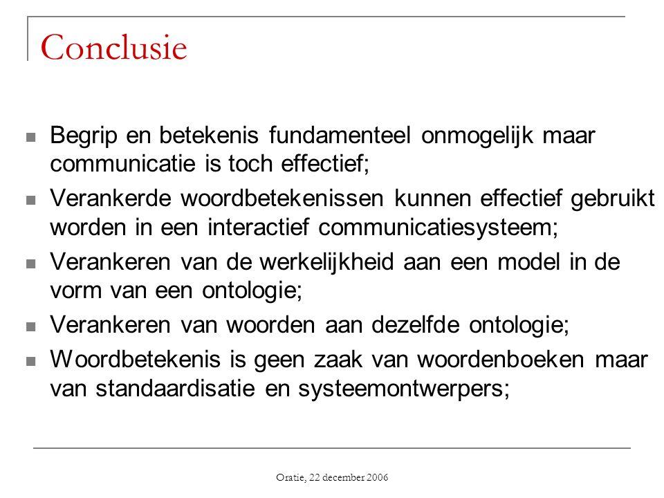 Oratie, 22 december 2006 Conclusie Begrip en betekenis fundamenteel onmogelijk maar communicatie is toch effectief; Verankerde woordbetekenissen kunne