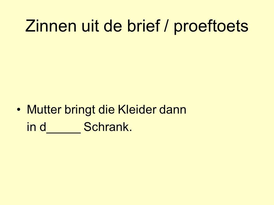 Zinnen uit de brief / proeftoets Mutter bringt die Kleider dann in d_____ Schrank.
