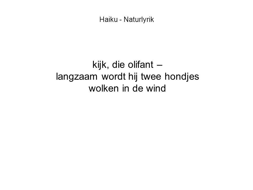 Haiku - Naturlyrik kijk, die olifant – langzaam wordt hij twee hondjes wolken in de wind