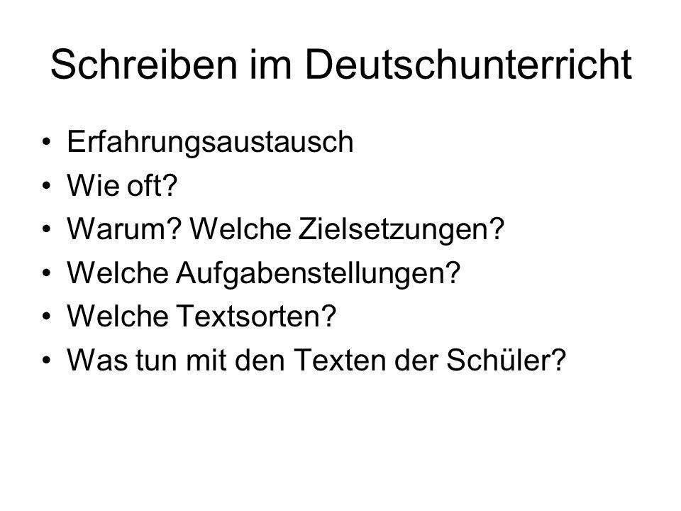 Schreiben im Deutschunterricht Erfahrungsaustausch Wie oft? Warum? Welche Zielsetzungen? Welche Aufgabenstellungen? Welche Textsorten? Was tun mit den