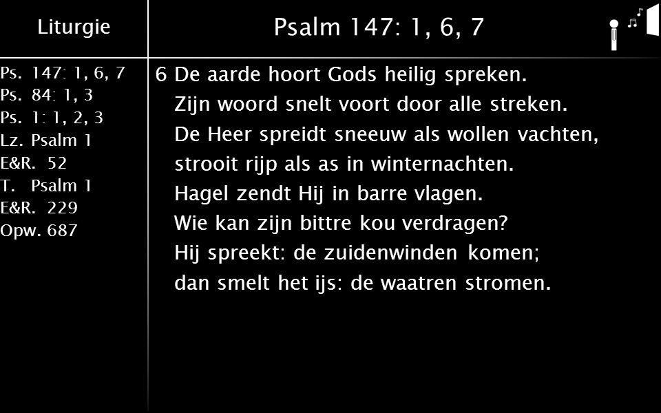 Liturgie Ps.147: 1, 6, 7 Ps. 84: 1, 3 Ps. 1: 1, 2, 3 Lz. Psalm 1 E&R.52 T.Psalm 1 E&R.229 Opw.687 Psalm 147: 1, 6, 7 6De aarde hoort Gods heilig sprek