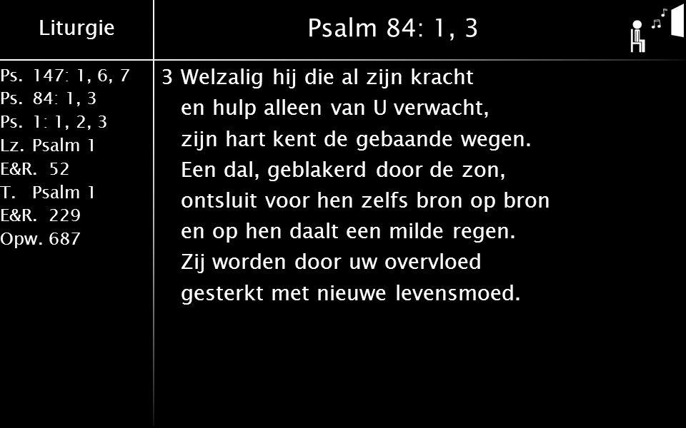 Liturgie Ps.147: 1, 6, 7 Ps. 84: 1, 3 Ps. 1: 1, 2, 3 Lz. Psalm 1 E&R.52 T.Psalm 1 E&R.229 Opw.687 Psalm 84: 1, 3 3Welzalig hij die al zijn kracht en h