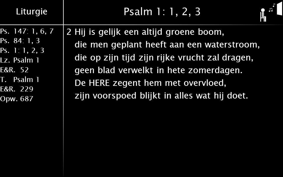 Liturgie Ps.147: 1, 6, 7 Ps. 84: 1, 3 Ps. 1: 1, 2, 3 Lz. Psalm 1 E&R.52 T.Psalm 1 E&R.229 Opw.687 Psalm 1: 1, 2, 3 2Hij is gelijk een altijd groene bo