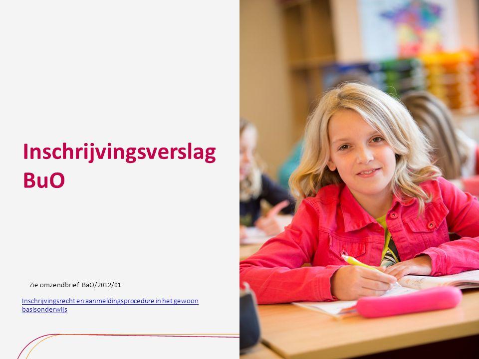Inschrijvingsverslag BuO Inschrijvingsrecht en aanmeldingsprocedure in het gewoon basisonderwijs Zie omzendbrief BaO/2012/01