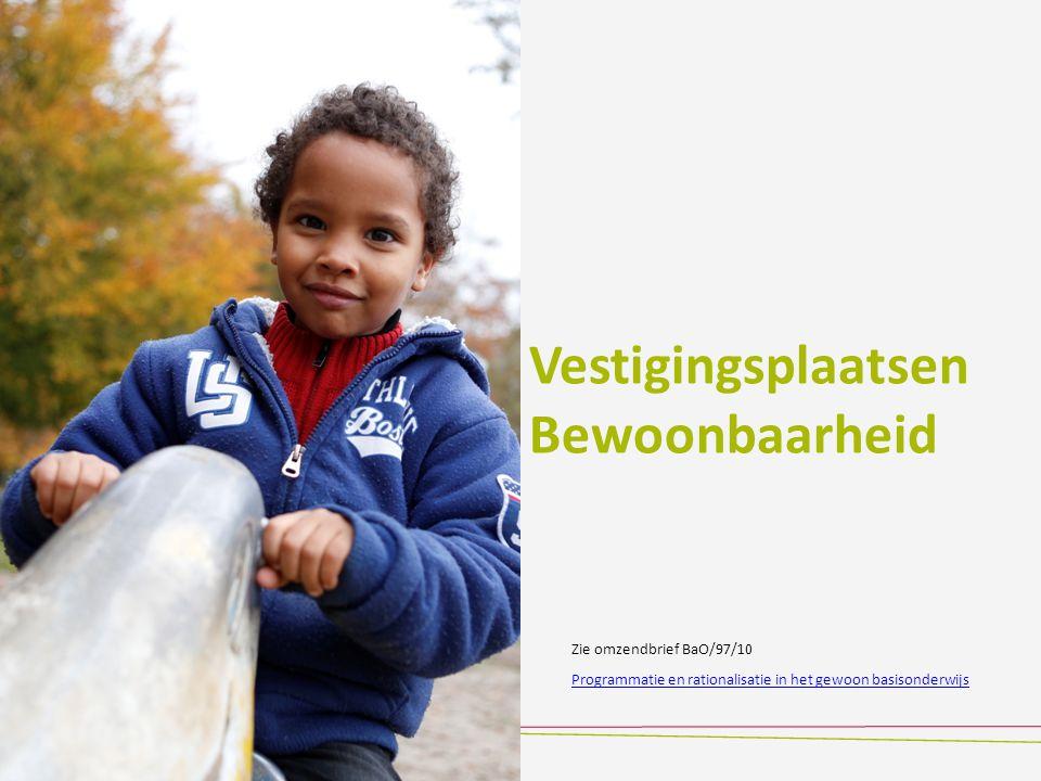 Vestigingsplaatsen Bewoonbaarheid Programmatie en rationalisatie in het gewoon basisonderwijs Zie omzendbrief BaO/97/10