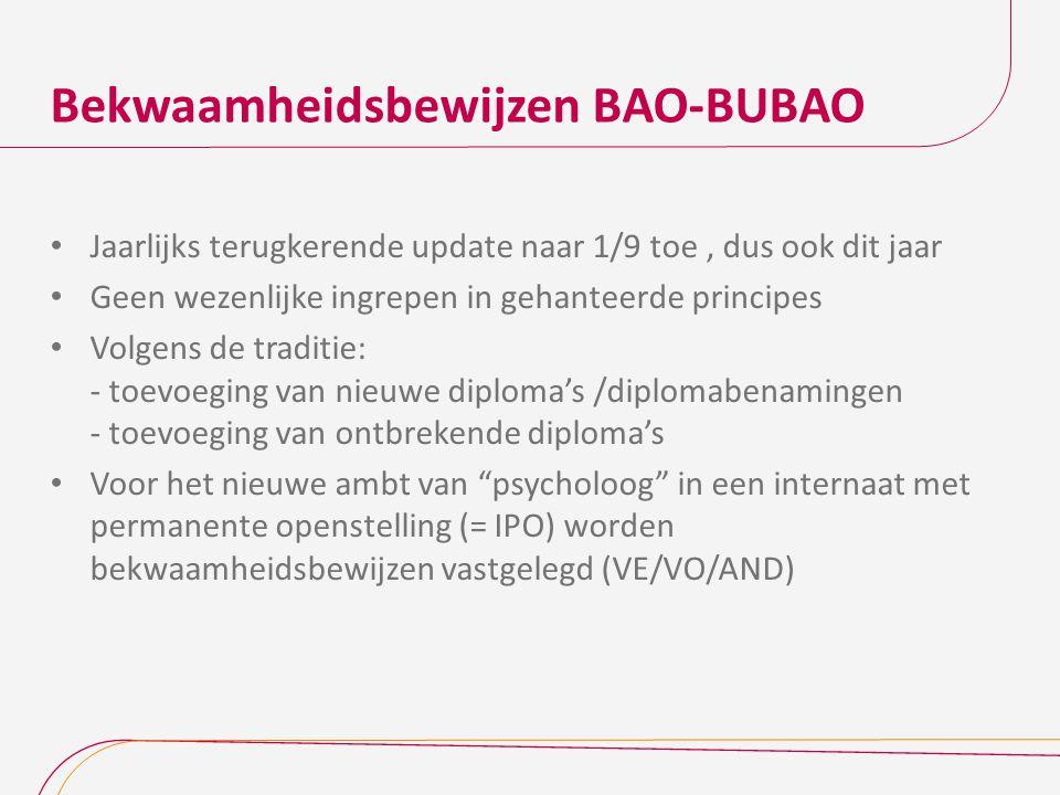 Bekwaamheidsbewijzen BAO-BUBAO Jaarlijks terugkerende update naar 1/9 toe, dus ook dit jaar Geen wezenlijke ingrepen in gehanteerde principes Volgens de traditie: - toevoeging van nieuwe diploma's /diplomabenamingen - toevoeging van ontbrekende diploma's Voor het nieuwe ambt van psycholoog in een internaat met permanente openstelling (= IPO) worden bekwaamheidsbewijzen vastgelegd (VE/VO/AND)