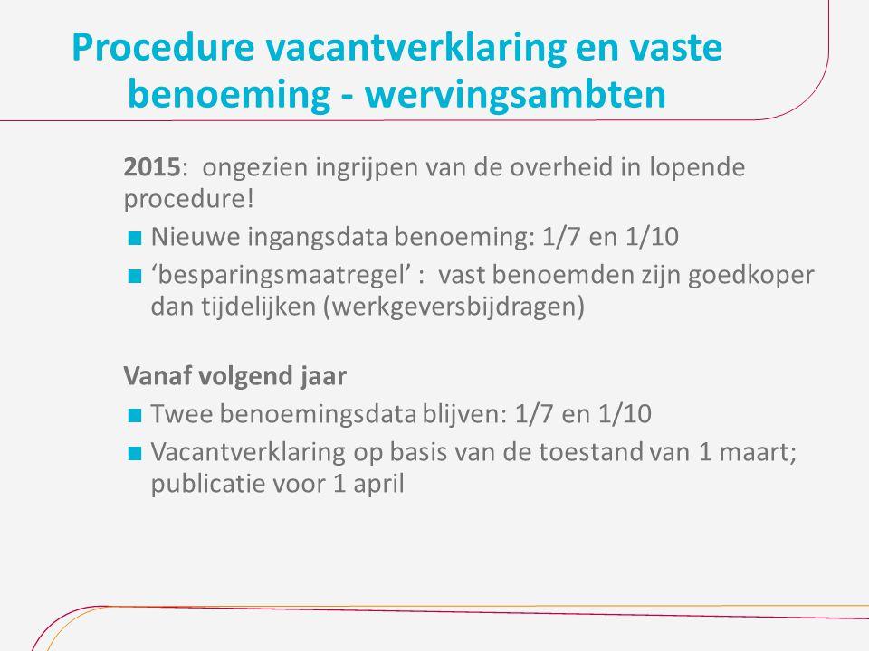 Procedure vacantverklaring en vaste benoeming - wervingsambten 2015: ongezien ingrijpen van de overheid in lopende procedure.