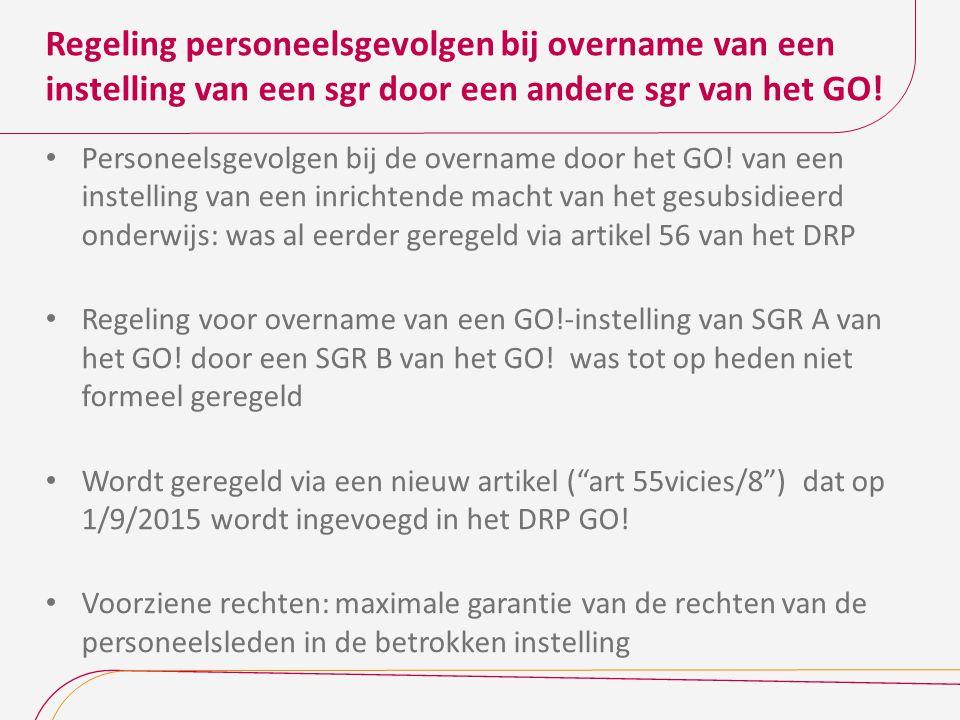 Regeling personeelsgevolgen bij overname van een instelling van een sgr door een andere sgr van het GO.