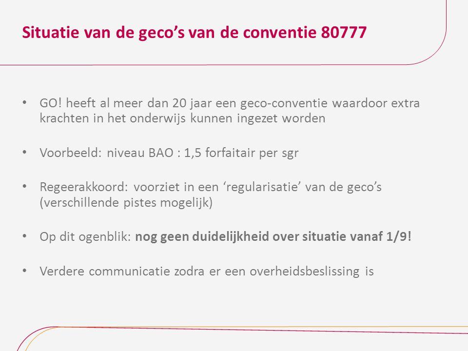 Situatie van de geco's van de conventie 80777 GO.