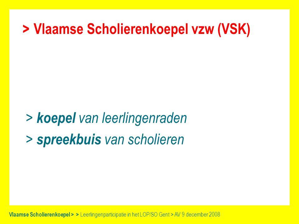 Vlaamse Scholierenkoepel > > Leerlingenparticipatie in het LOP/SO Gent > AV 9 december 2008 3 pijlers > spreekbuis > 'Voor en door scholieren!' > vorming en ondersteuning > bereik Gent