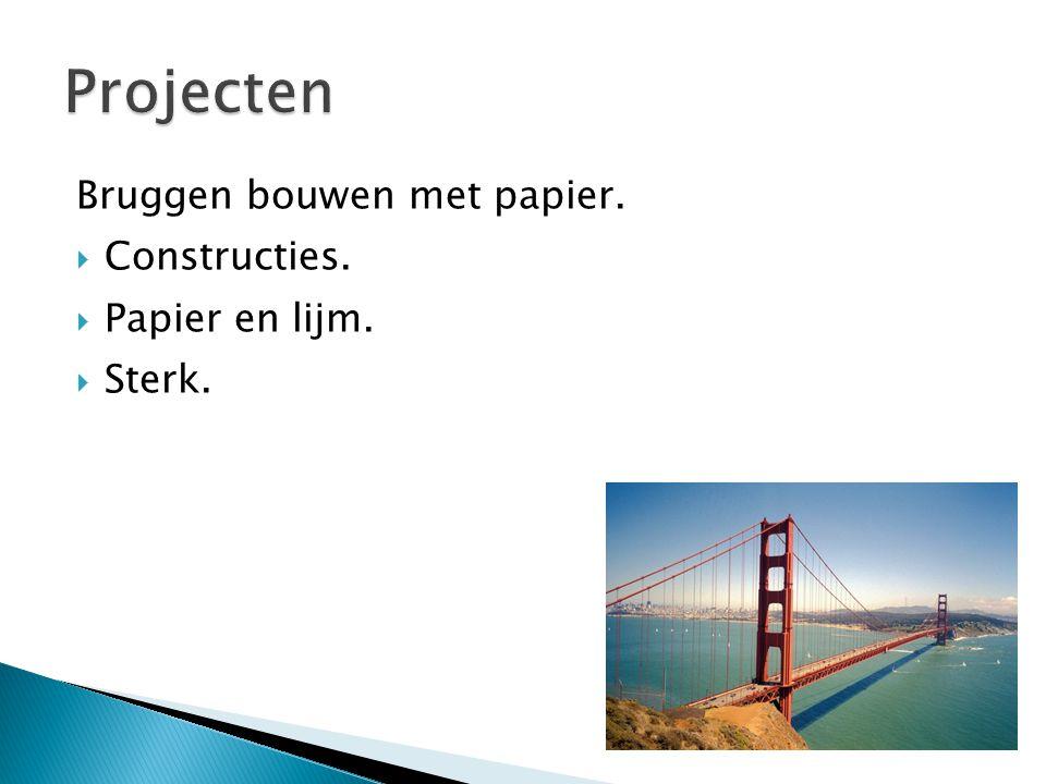Bruggen bouwen met papier.  Constructies.  Papier en lijm.  Sterk.