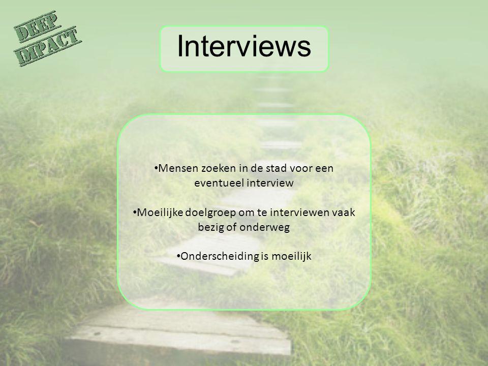 Interviews Mensen zoeken in de stad voor een eventueel interview Moeilijke doelgroep om te interviewen vaak bezig of onderweg Onderscheiding is moeili