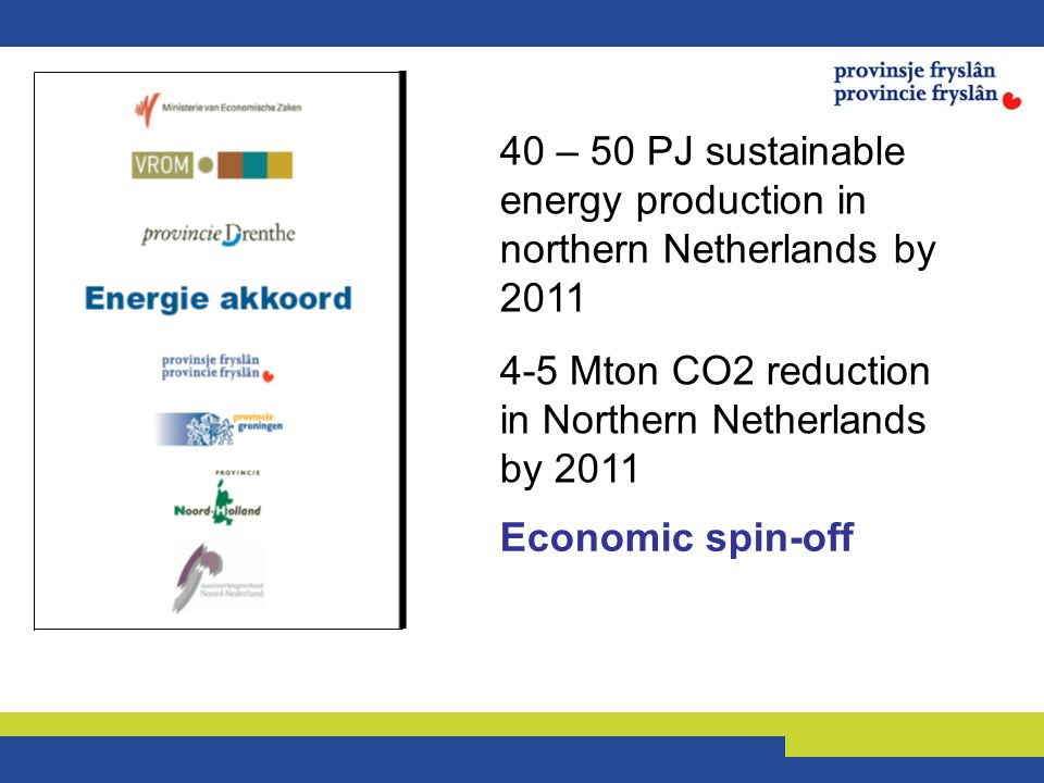 40 – 50 PJ sustainable energy production in northern Netherlands by 2011 4-5 Mton CO2 reduction in Northern Netherlands by 2011 Economic spin-off