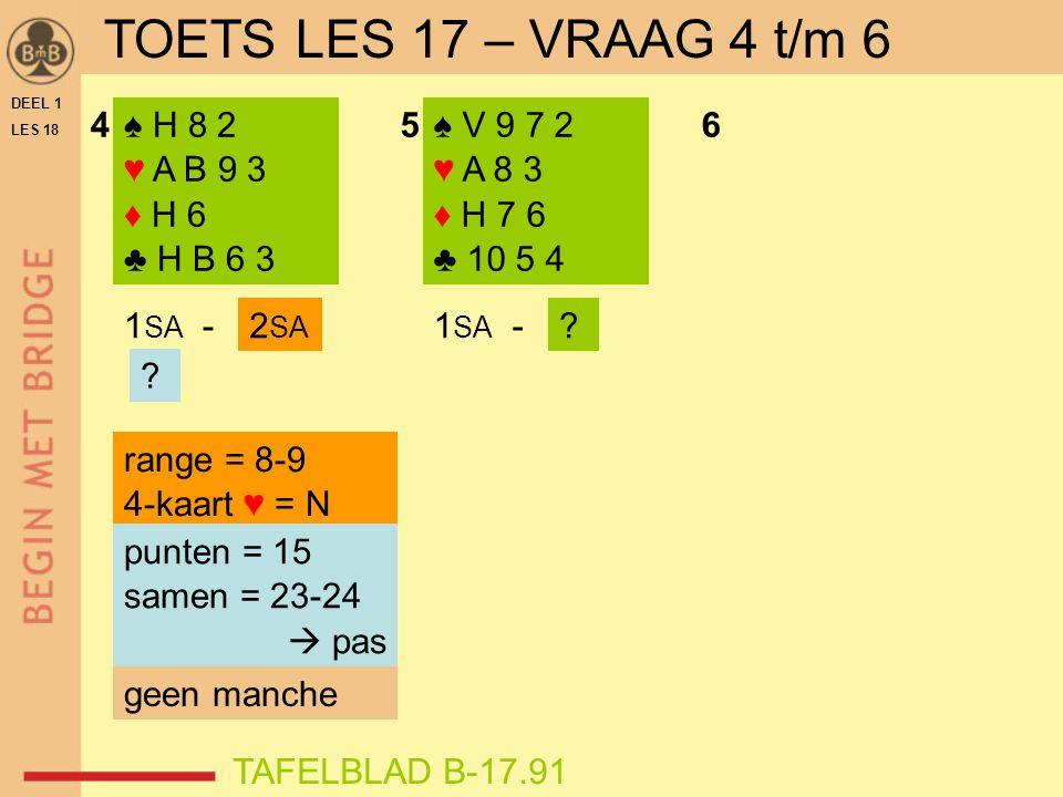 DEEL 1 LES 18 ♠ H 8 2 ♥ A B 9 3 ♦ H 6 ♣ H B 6 3 ♠ V 9 7 2 ♥ A 8 3 ♦ H 7 6 ♣ 10 5 4 456 range = 8-9 4-kaart ♥ = N 1 SA - ? ? 2 SA punten = 15 samen = 2