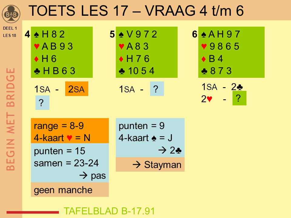 DEEL 1 LES 18 ♠ H 8 2 ♥ A B 9 3 ♦ H 6 ♣ H B 6 3 ♠ V 9 7 2 ♥ A 8 3 ♦ H 7 6 ♣ 10 5 4 ♠ A H 9 7 ♥ 9 8 6 5 ♦ B 4 ♣ 8 7 3 456 1 SA - 2♣ 2♥ - .