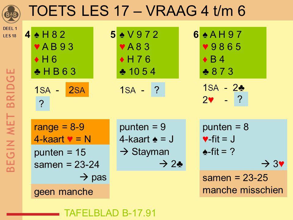 DEEL 1 LES 18 ♠ H 8 2 ♥ A B 9 3 ♦ H 6 ♣ H B 6 3 ♠ V 9 7 2 ♥ A 8 3 ♦ H 7 6 ♣ 10 5 4 ♠ A H 9 7 ♥ 9 8 6 5 ♦ B 4 ♣ 8 7 3 456 1 SA - 2♣ 2♥ - ? punten = 8 ♥