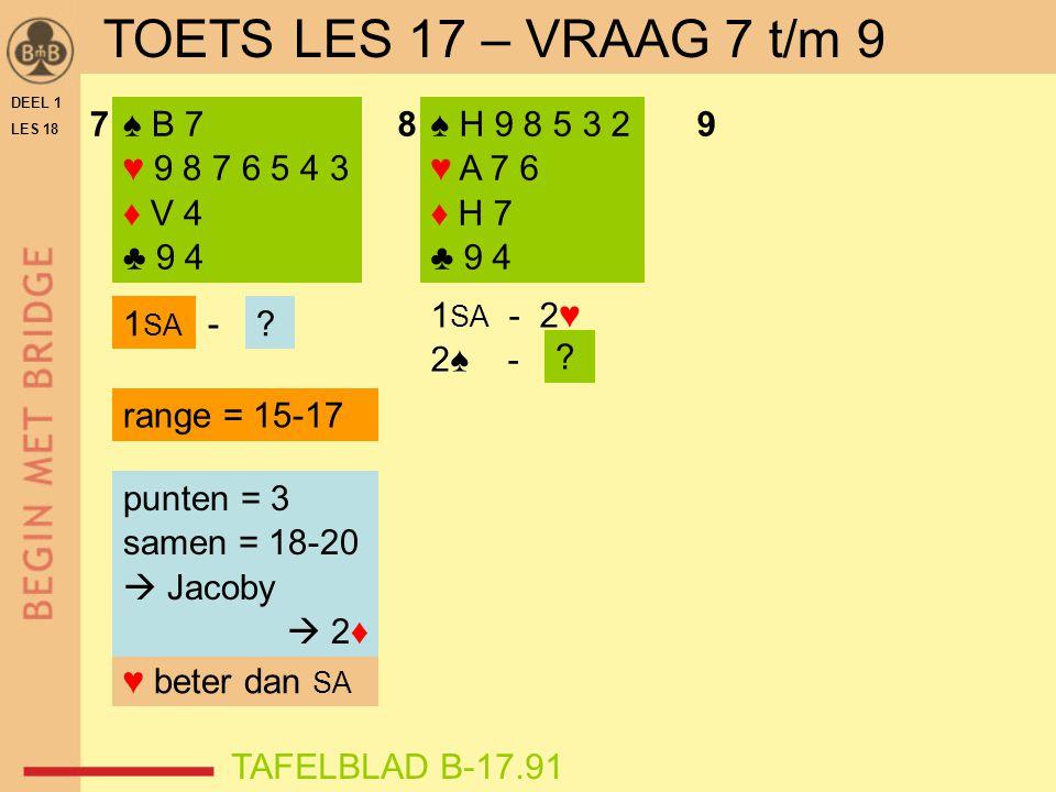 DEEL 1 LES 18 ♠ B 7 ♥ 9 8 7 6 5 4 3 ♦ V 4 ♣ 9 4 ♠ H 9 8 5 3 2 ♥ A 7 6 ♦ H 7 ♣ 9 4 789 1 SA - 2♥ 2♠ - 1 SA .