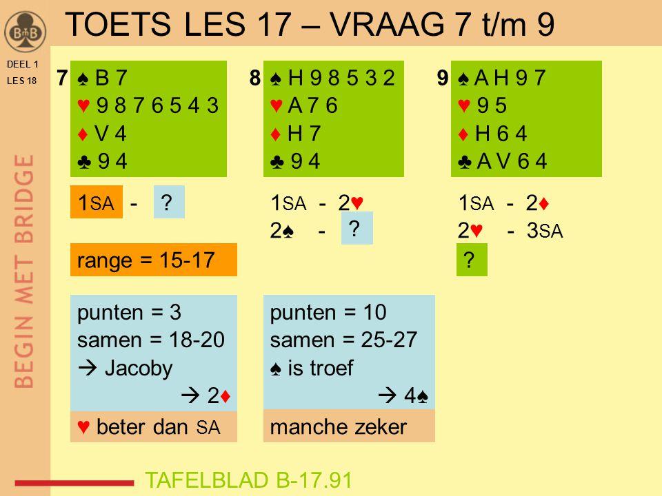 DEEL 1 LES 18 ♠ B 7 ♥ 9 8 7 6 5 4 3 ♦ V 4 ♣ 9 4 ♠ H 9 8 5 3 2 ♥ A 7 6 ♦ H 7 ♣ 9 4 789 1 SA - 2♥ 2♠ - 1 SA ? ? ♥ beter dan SA punten = 3 samen = 18-20