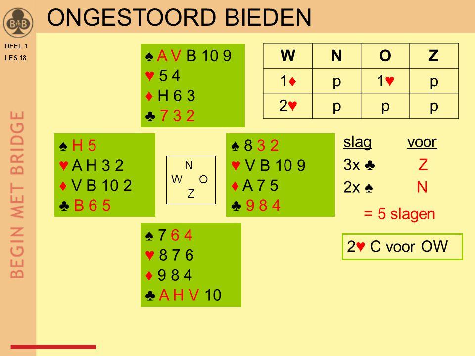 DEEL 1 LES 18 ♠ H 5 ♥ A H 3 2 ♦ V B 10 2 ♣ B 6 5 ♠ 8 3 2 ♥ V B 10 9 ♦ A 7 5 ♣ 9 8 4 N W O Z WNOZ 1♦1♦p1♥1♥p 2♥2♥ppp ♠ 7 6 4 ♥ 8 7 6 ♦ 9 8 4 ♣ A H V 10 ♠ A V B 10 9 ♥ 5 4 ♦ H 6 3 ♣ 7 3 2 2♥ C voor OW slag voor 3x ♣ Z 2x ♠ N = 5 slagen ONGESTOORD BIEDEN