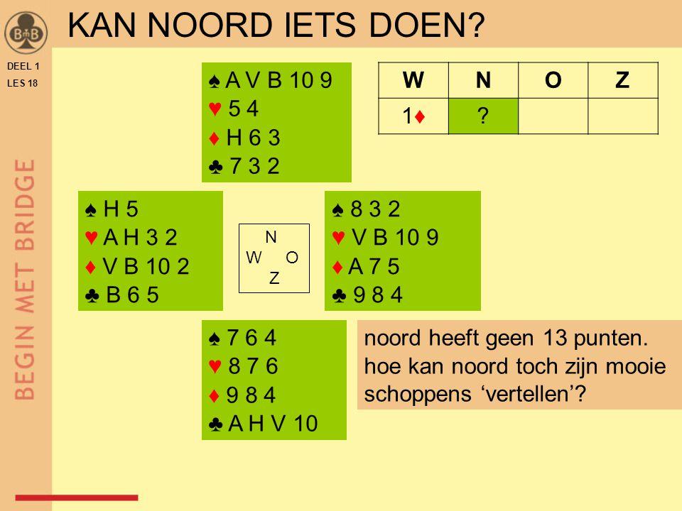 DEEL 1 LES 18 ♠ 8 3 2 ♥ V B 10 9 ♦ A 7 5 ♣ 9 8 4 N W O Z WNOZ 1♦1♦.