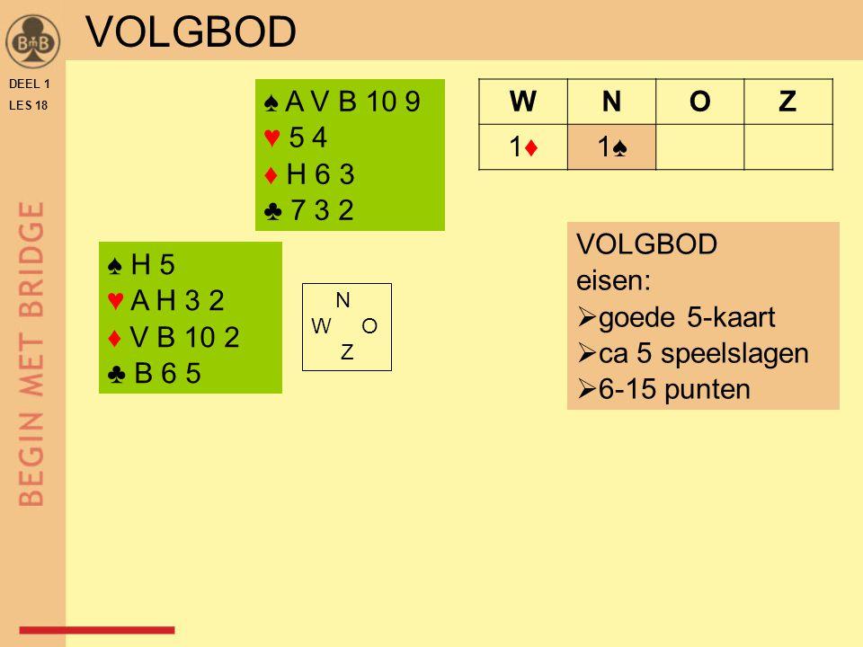 DEEL 1 LES 18 ♠ H 5 ♥ A H 3 2 ♦ V B 10 2 ♣ B 6 5 N W O Z WNOZ 1♦1♦1♠ ♠ A V B 10 9 ♥ 5 4 ♦ H 6 3 ♣ 7 3 2 VOLGBOD eisen:  goede 5-kaart  ca 5 speelslagen  6-15 punten