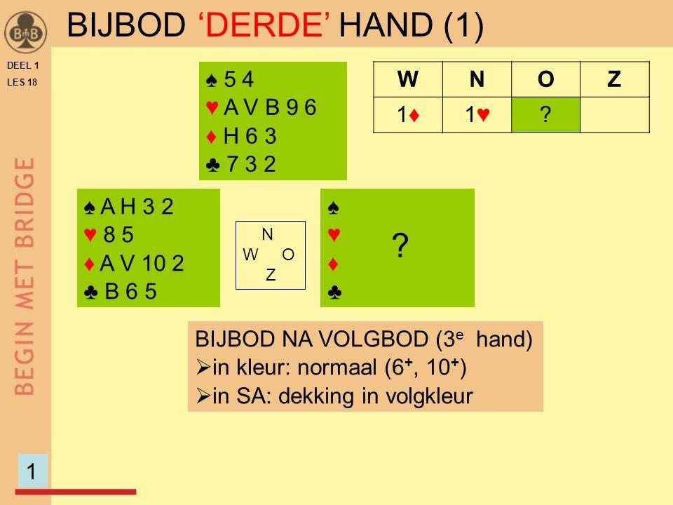 DEEL 1 LES 18 ♠ A H 3 2 ♥ 8 5 ♦ A V 10 2 ♣ B 6 5 ♠♥♦♣♠♥♦♣ N W O Z WNOZ 1♦1♦1♥1♥.