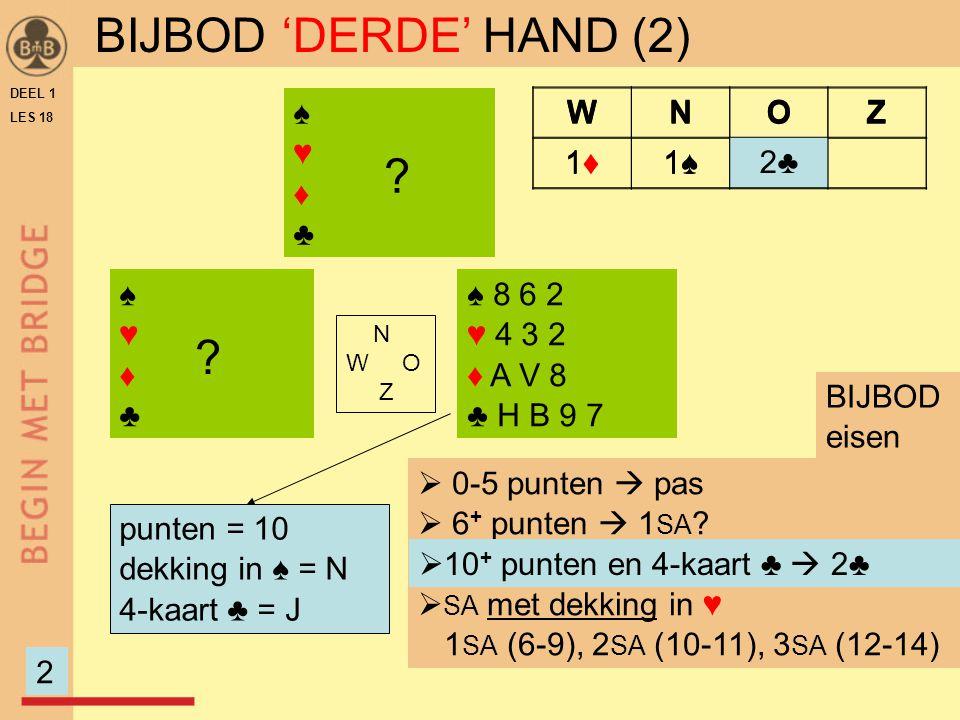 DEEL 1 LES 18 ♠♥♦♣♠♥♦♣ ♠ 8 6 2 ♥ 4 3 2 ♦ A V 8 ♣ H B 9 7 N W O Z ♠♥♦♣♠♥♦♣ punten = 10 dekking in ♠ = N 4-kaart ♣ = J  0-5 punten  pas  6 + punten  1 SA .