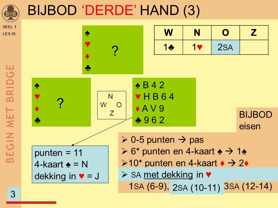 DEEL 1 LES 18 ♠♥♦♣♠♥♦♣ ♠ B 4 2 ♥ H B 6 4 ♦ A V 9 ♣ 9 6 2 N W O Z ♠♥♦♣♠♥♦♣ ? punten = 11 4-kaart ♠ = N dekking in ♥ = J  0-5 punten  pas  6 + punten