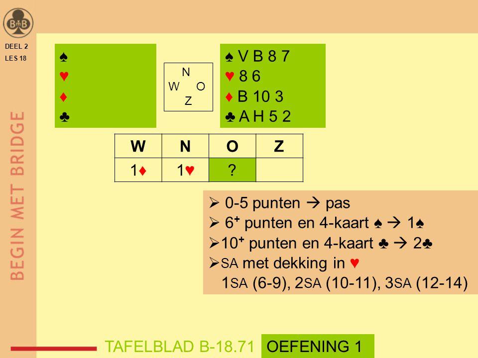 N W O Z WNOZ 1♦1♦1♥1♥? ♠♥♦♣♠♥♦♣ ♠ V B 8 7 ♥ 8 6 ♦ B 10 3 ♣ A H 5 2  0-5 punten  pas  6 + punten en 4-kaart ♠  1♠  10 + punten en 4-kaart ♣  2♣ 
