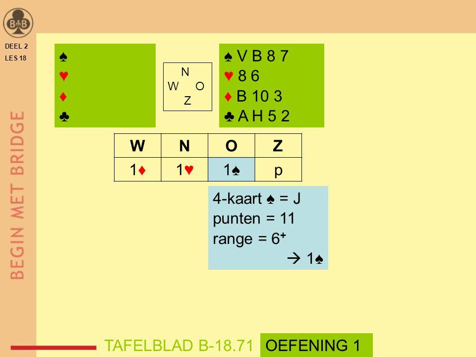 N W O Z WNOZ 1♦1♦1♥1♥1♠p ♠♥♦♣♠♥♦♣ ♠ V B 8 7 ♥ 8 6 ♦ B 10 3 ♣ A H 5 2 4-kaart ♠ = J punten = 11 range = 6 +  1♠ DEEL 2 LES 18 TAFELBLAD B-18.71OEFENIN