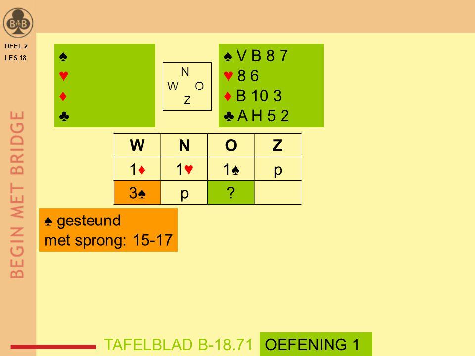 N W O Z WNOZ 1♦1♦1♥1♥1♠p 3♠3♠p? ♠♥♦♣♠♥♦♣ ♠ V B 8 7 ♥ 8 6 ♦ B 10 3 ♣ A H 5 2 DEEL 2 LES 18 TAFELBLAD B-18.71 ♠ gesteund met sprong: 15-17 OEFENING 1