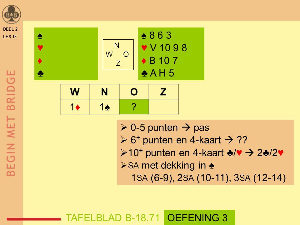 N W O Z WNOZ 1♦1♦1♠? ♠ 8 6 3 ♥ V 10 9 8 ♦ B 10 7 ♣ A H 5 DEEL 2 LES 18  0-5 punten  pas  6 + punten en 4-kaart  ??  10 + punten en 4-kaart ♣/♥ 