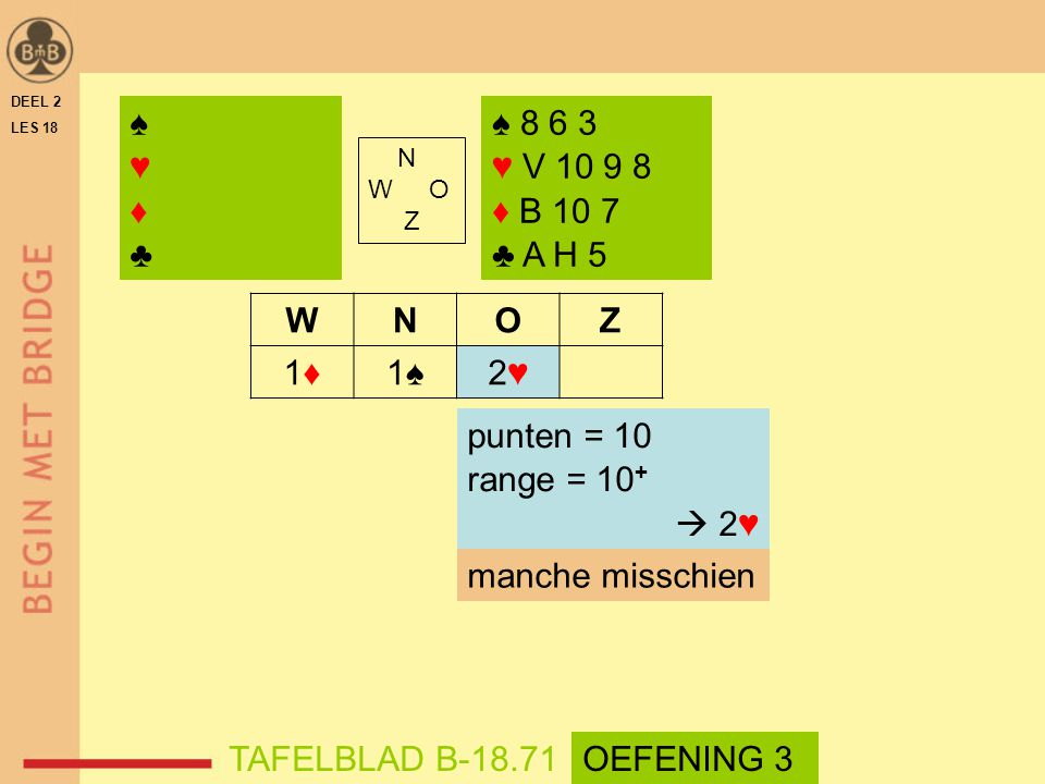N W O Z WNOZ 1♦1♦1♠2♥2♥ ♠ 8 6 3 ♥ V 10 9 8 ♦ B 10 7 ♣ A H 5 DEEL 2 LES 18 TAFELBLAD B-18.71 punten = 10 range = 10 +  2♥ ♠♥♦♣♠♥♦♣ manche misschien OE