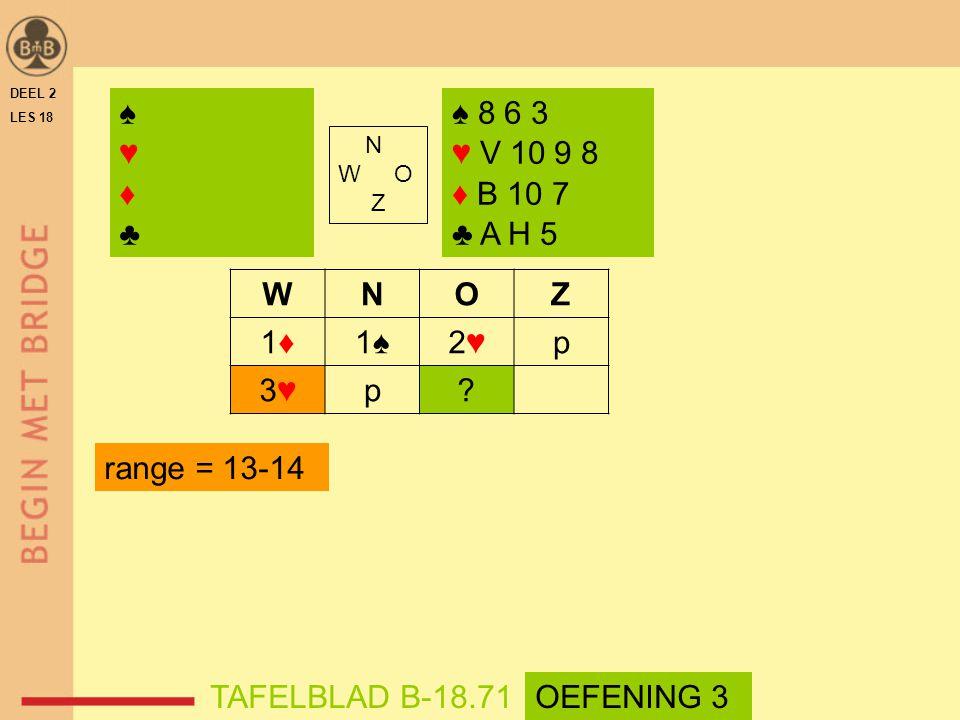 N W O Z WNOZ 1♦1♦1♠2♥2♥p 3♥3♥p? ♠♥♦♣♠♥♦♣ ♠ 8 6 3 ♥ V 10 9 8 ♦ B 10 7 ♣ A H 5 DEEL 2 LES 18 TAFELBLAD B-18.71 range = 13-14 OEFENING 3