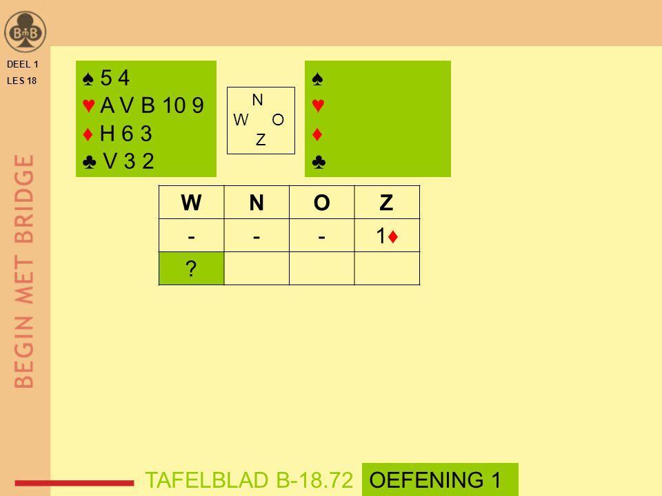 DEEL 1 LES 18 N W O Z WNOZ ---1♦1♦ ? ♠ 5 4 ♥ A V B 10 9 ♦ H 6 3 ♣ V 3 2 ♠♥♦♣♠♥♦♣ TAFELBLAD B-18.72OEFENING 1