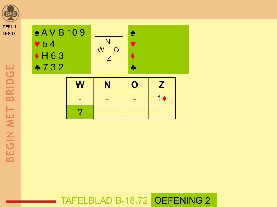 DEEL 1 LES 18 N W O Z WNOZ ---1♦1♦ ? ♠ A V B 10 9 ♥ 5 4 ♦ H 6 3 ♣ 7 3 2 ♠♥♦♣♠♥♦♣ TAFELBLAD B-18.72OEFENING 2