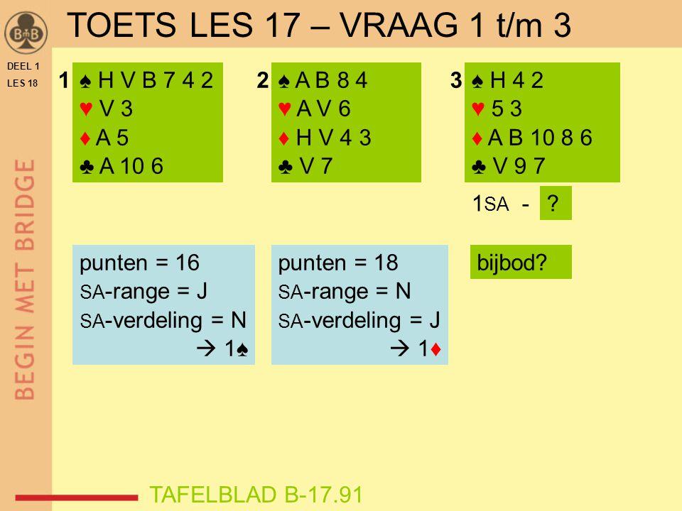 DEEL 1 LES 18 ♠ H V B 7 4 2 ♥ V 3 ♦ A 5 ♣ A 10 6 ♠ A B 8 4 ♥ A V 6 ♦ H V 4 3 ♣ V 7 ♠ H 4 2 ♥ 5 3 ♦ A B 10 8 6 ♣ V 9 7 123 1 SA -? punten = 18 SA -rang