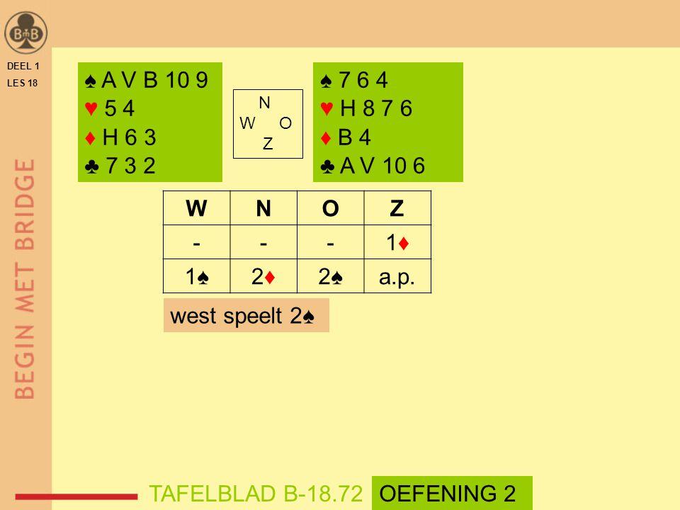 DEEL 1 LES 18 N W O Z WNOZ ---1♦1♦ 1♠2♦2♦2♠a.p. ♠ A V B 10 9 ♥ 5 4 ♦ H 6 3 ♣ 7 3 2 TAFELBLAD B-18.72 ♠ 7 6 4 ♥ H 8 7 6 ♦ B 4 ♣ A V 10 6 west speelt 2♠