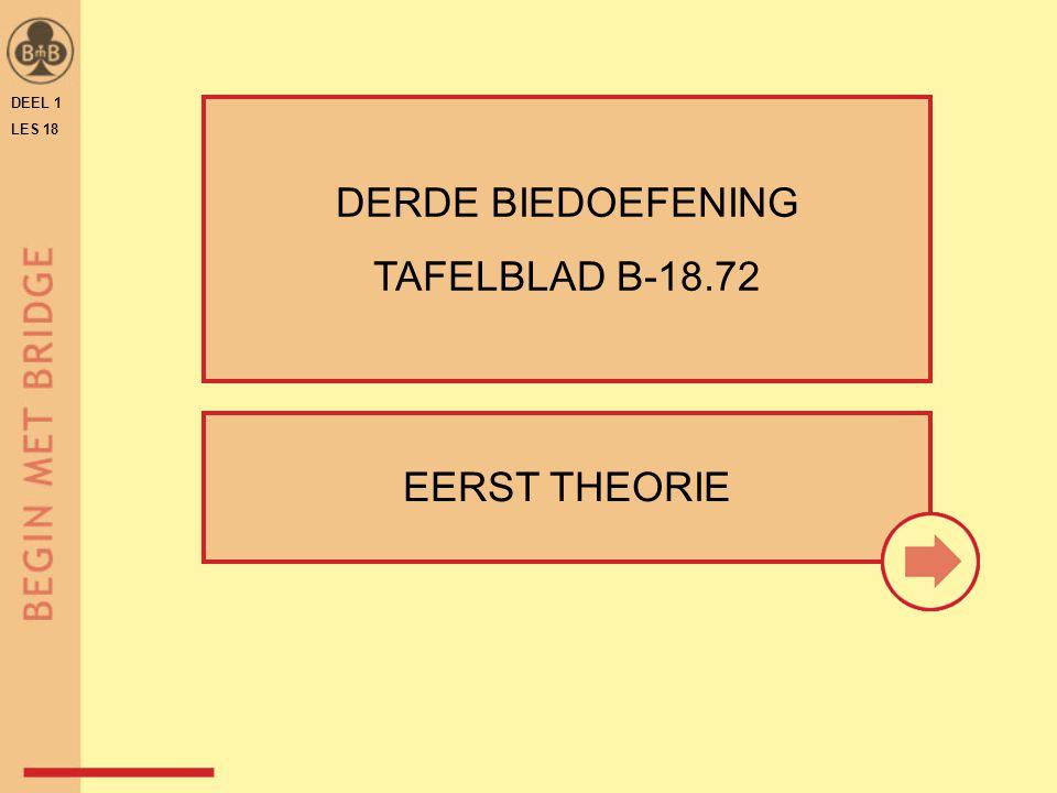 DEEL 1 LES 18 EERST THEORIE DERDE BIEDOEFENING TAFELBLAD B-18.72