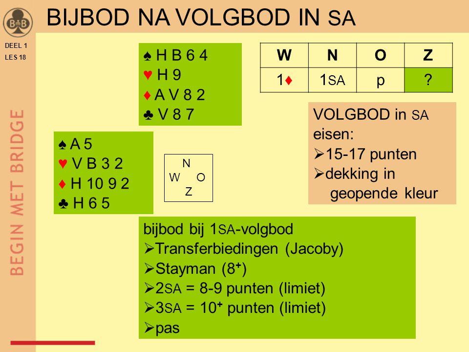 DEEL 1 LES 18 ♠ A 5 ♥ V B 3 2 ♦ H 10 9 2 ♣ H 6 5 N W O Z WNOZ 1♦1♦1 SA p.