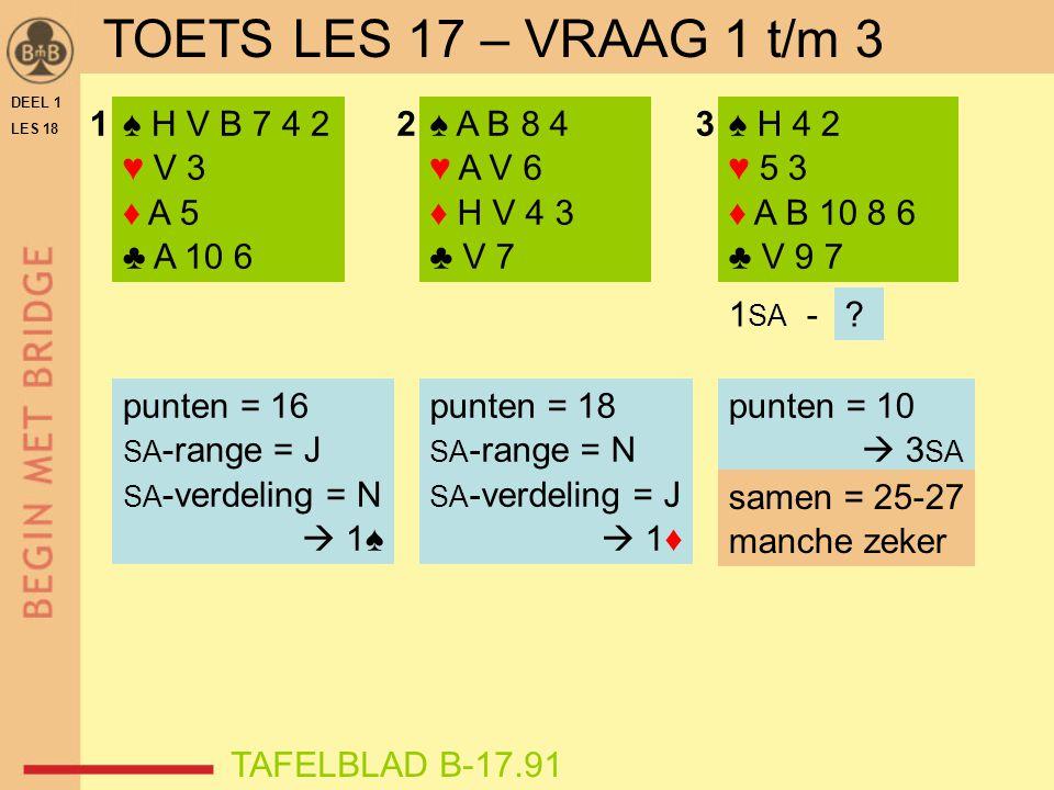 DEEL 1 LES 18 ♠ H V B 7 4 2 ♥ V 3 ♦ A 5 ♣ A 10 6 ♠ A B 8 4 ♥ A V 6 ♦ H V 4 3 ♣ V 7 ♠ H 4 2 ♥ 5 3 ♦ A B 10 8 6 ♣ V 9 7 123 1 SA -? punten = 10  3 SA s