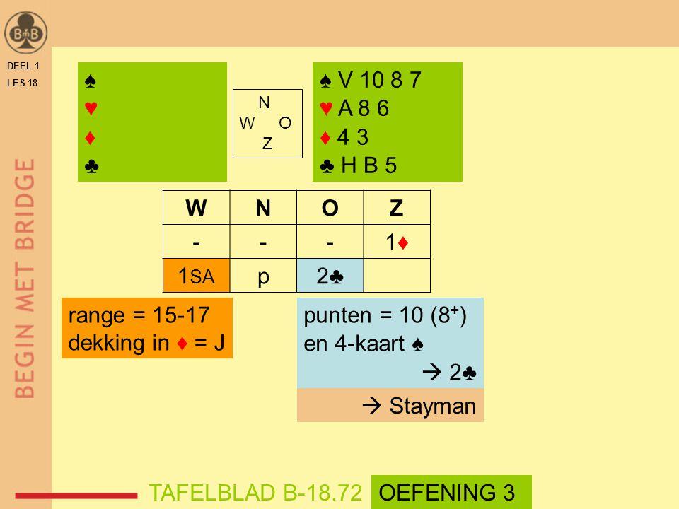 DEEL 1 LES 18 N W O Z WNOZ ---1♦1♦ 1 SA p2♣ ♠ V 10 8 7 ♥ A 8 6 ♦ 4 3 ♣ H B 5 punten = 10 (8 + ) en 4-kaart ♠  2♣ TAFELBLAD B-18.72 range = 15-17 dekking in ♦ = J  Stayman ♠♥♦♣♠♥♦♣ OEFENING 3