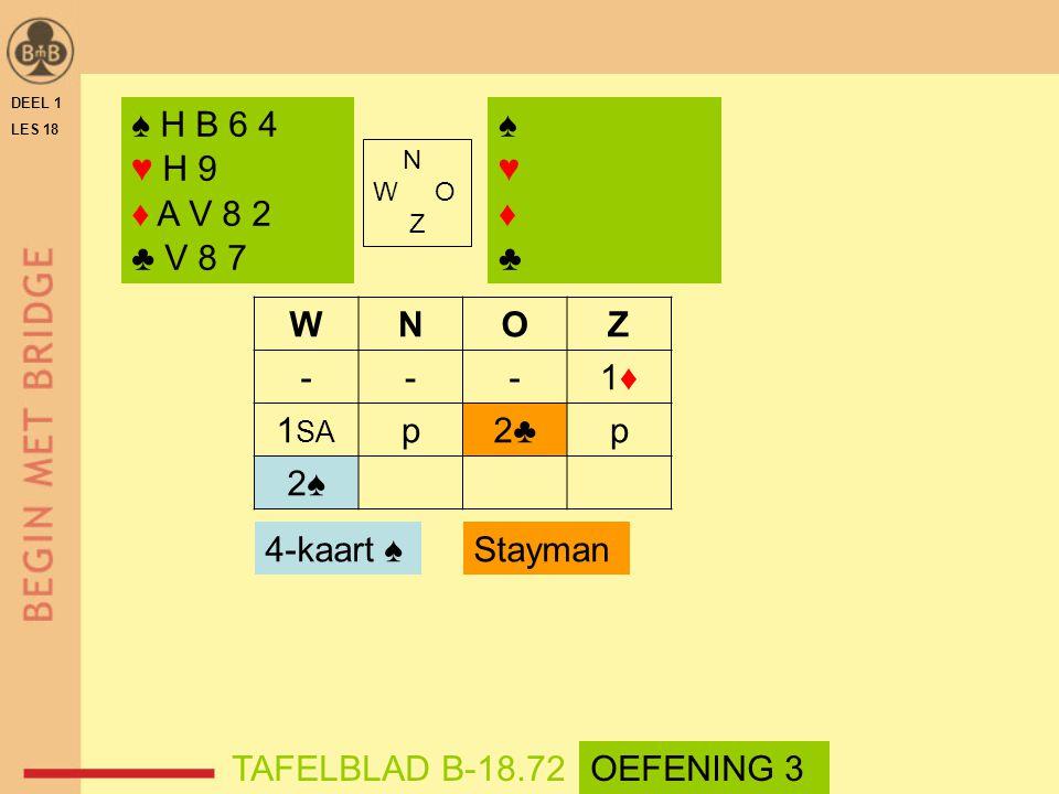 DEEL 1 LES 18 N W O Z WNOZ ---1♦1♦ 1 SA p2♣p 2♠ ♠ H B 6 4 ♥ H 9 ♦ A V 8 2 ♣ V 8 7 4-kaart ♠ TAFELBLAD B-18.72 Stayman ♠♥♦♣♠♥♦♣ OEFENING 3