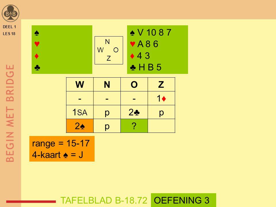DEEL 1 LES 18 N W O Z WNOZ ---1♦1♦ 1 SA p2♣p 2♠p? ♠ V 10 8 7 ♥ A 8 6 ♦ 4 3 ♣ H B 5 range = 15-17 4-kaart ♠ = J TAFELBLAD B-18.72 ♠♥♦♣♠♥♦♣ OEFENING 3