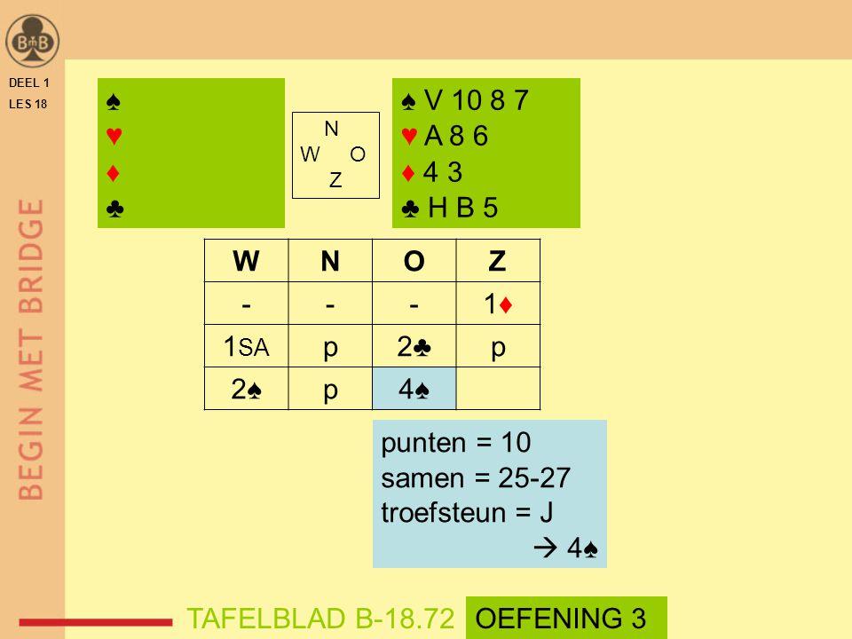 DEEL 1 LES 18 N W O Z WNOZ ---1♦1♦ 1 SA p2♣p 2♠p4♠ ♠ V 10 8 7 ♥ A 8 6 ♦ 4 3 ♣ H B 5 ♠♥♦♣♠♥♦♣ punten = 10 samen = 25-27 troefsteun = J  4♠ TAFELBLAD B-18.72OEFENING 3