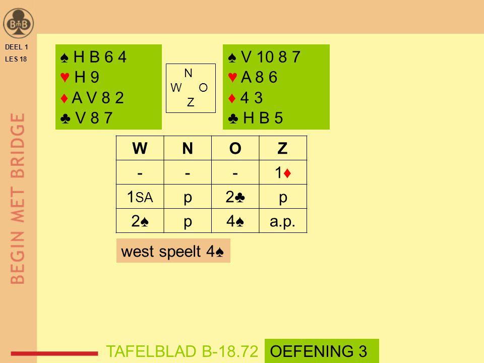 DEEL 1 LES 18 N W O Z WNOZ ---1♦1♦ 1 SA p2♣p 2♠p4♠a.p.
