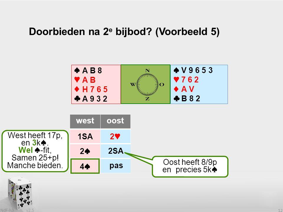 v2.5 NdF-h3 12 ♠♥♦♣♠♥♦♣ westoost 1SA2♥ 2♠.