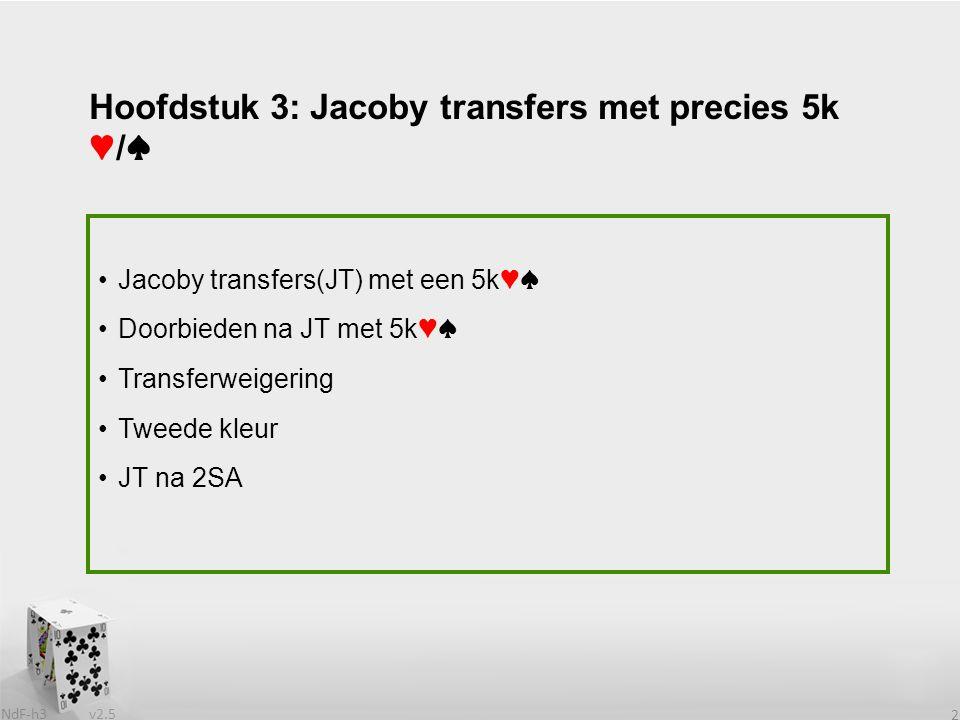 v2.5 NdF-h3 2 Jacoby transfers(JT) met een 5k♥♠ Doorbieden na JT met 5k♥♠ Transferweigering Tweede kleur JT na 2SA Hoofdstuk 3: Jacoby transfers met p